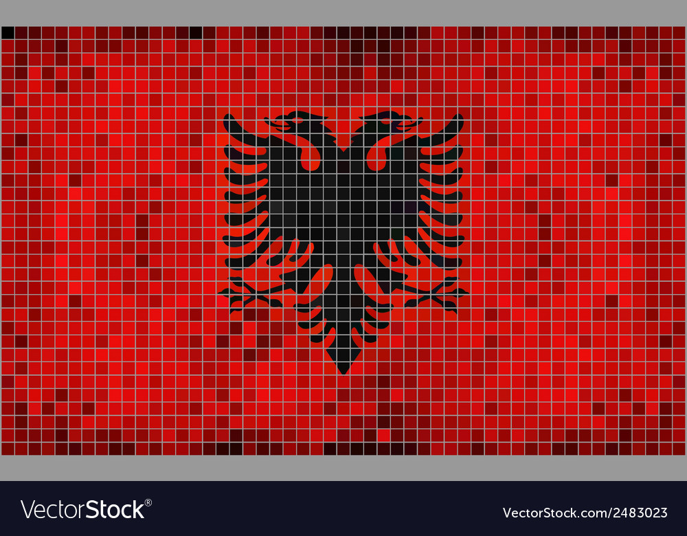Flag of albania - mosaic vector | Price: 1 Credit (USD $1)