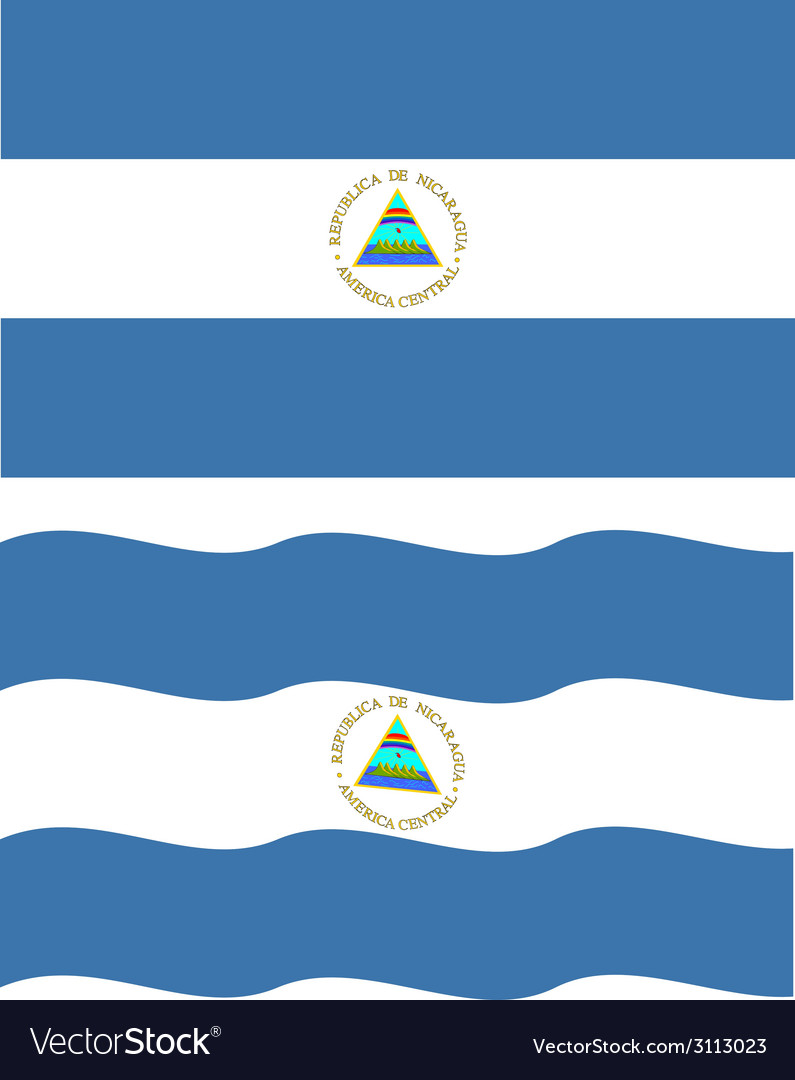 Flat and waving nicaragua flag vector | Price: 1 Credit (USD $1)