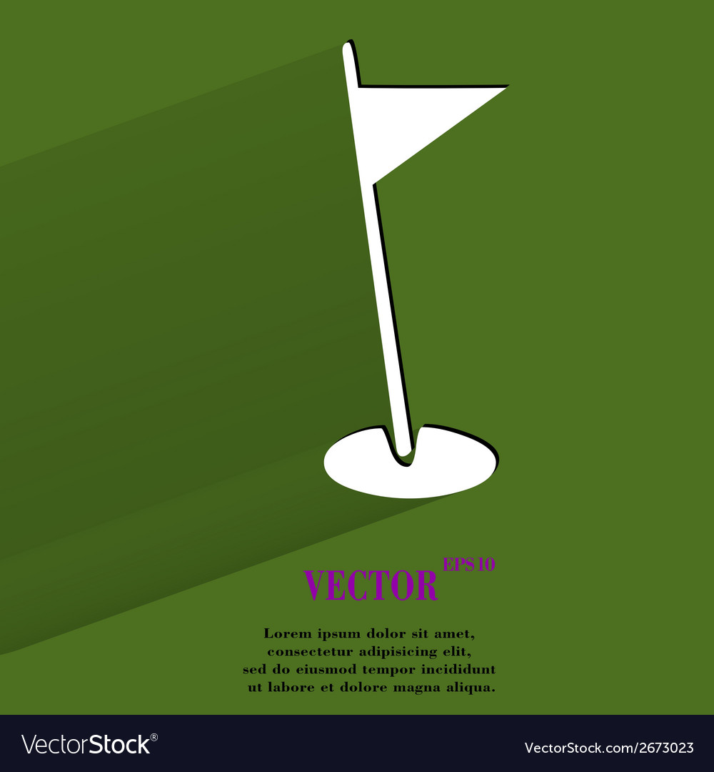 Golf flag flat modern web button with long shadow vector | Price: 1 Credit (USD $1)
