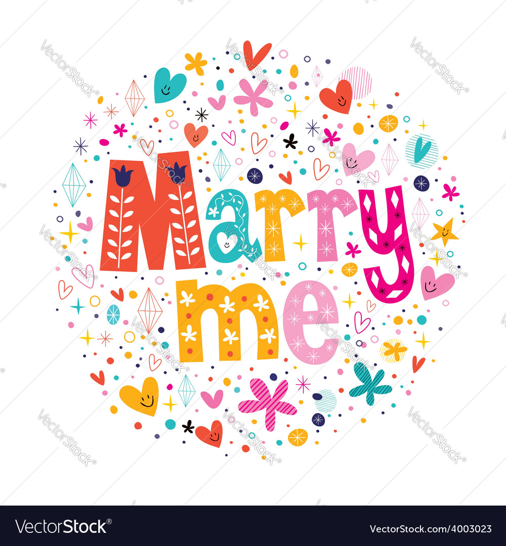 Marry me retro typography lettering decorative vector | Price: 1 Credit (USD $1)