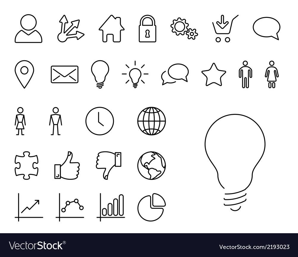 Modern thin line icon set vector