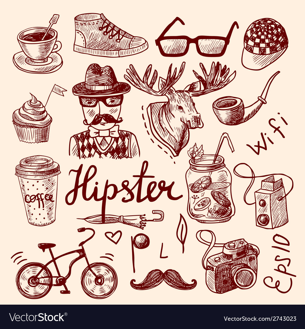 Set of hipster icons vector | Price: 1 Credit (USD $1)