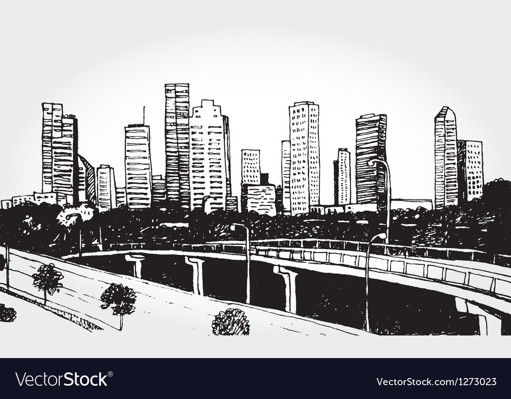 Sketch of a big city vector | Price: 1 Credit (USD $1)