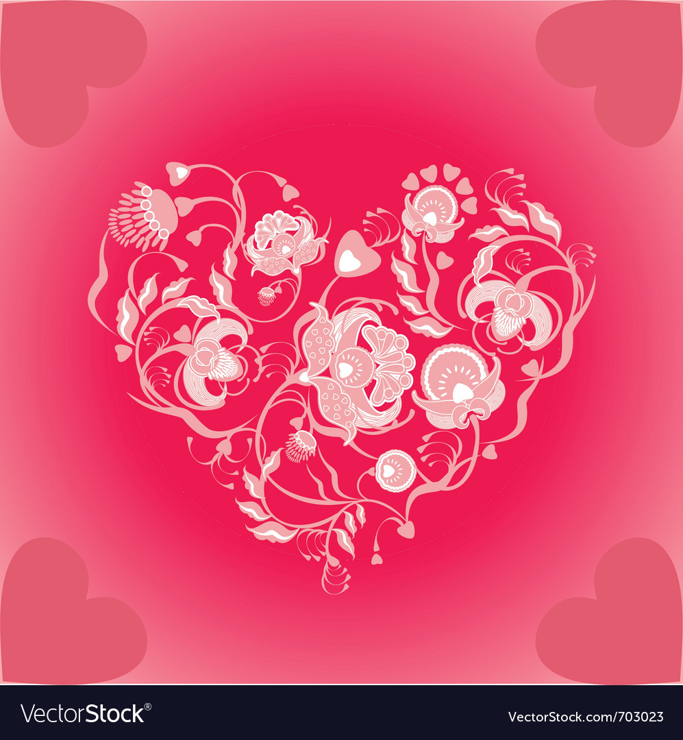 Valentin floral design vector | Price: 1 Credit (USD $1)