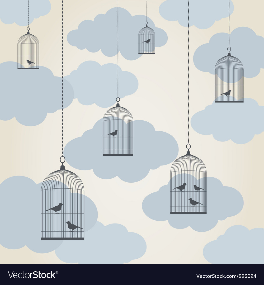 Birdie in a cage vector | Price: 1 Credit (USD $1)