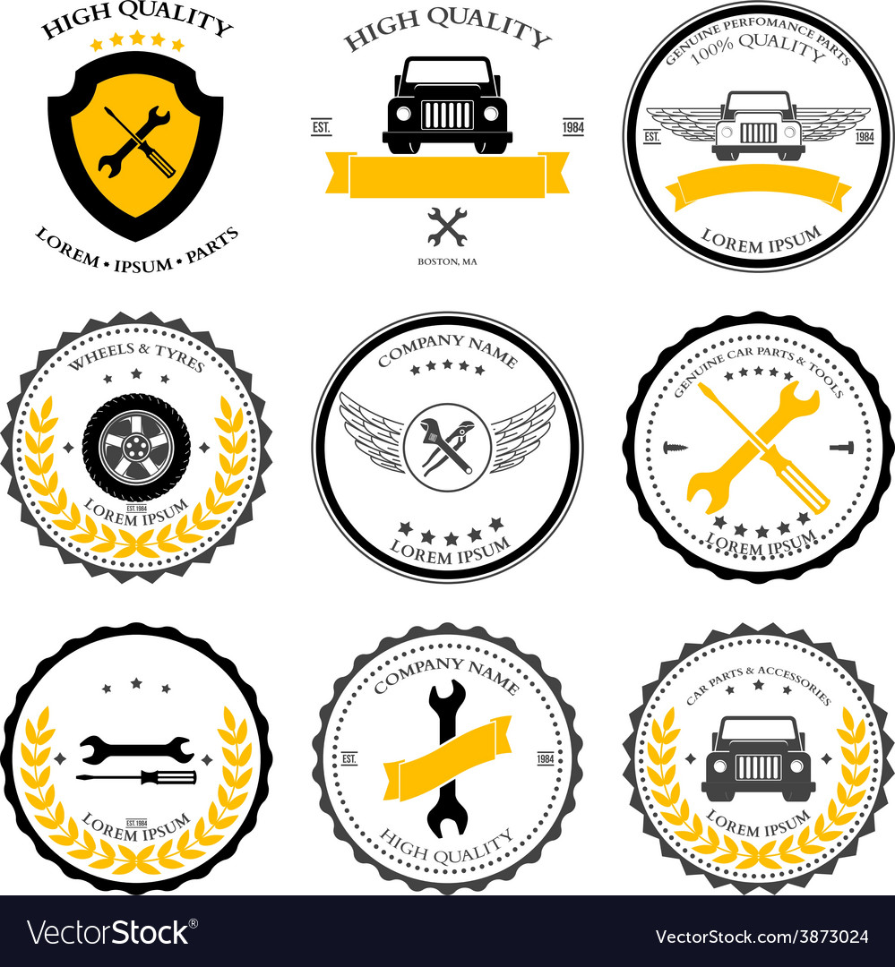 Car service auto parts tools icons set vector | Price: 1 Credit (USD $1)