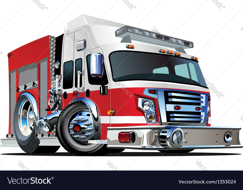 Cartoon fire truck vector | Price: 5 Credit (USD $5)