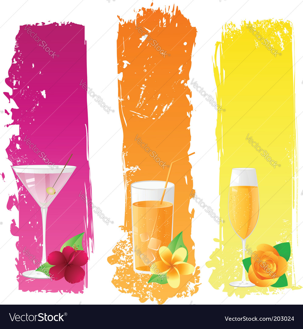 Grunge banners with drinks vector | Price: 3 Credit (USD $3)