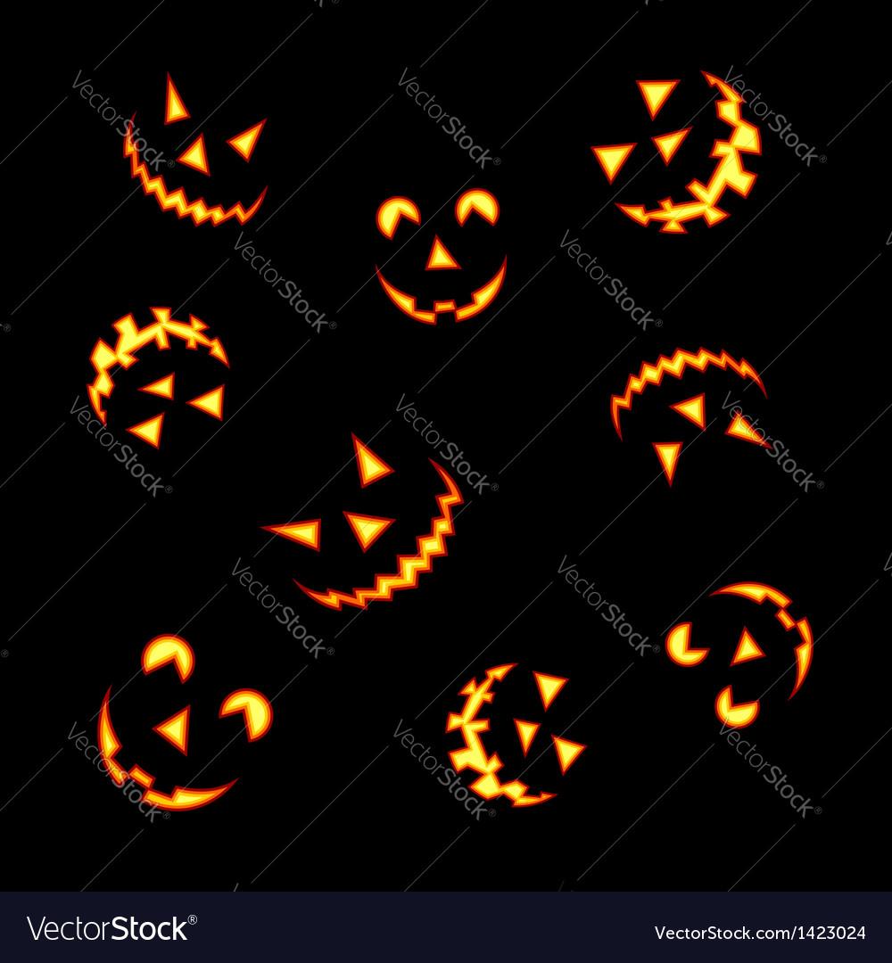 Halloween pumpkin faces vector | Price: 1 Credit (USD $1)