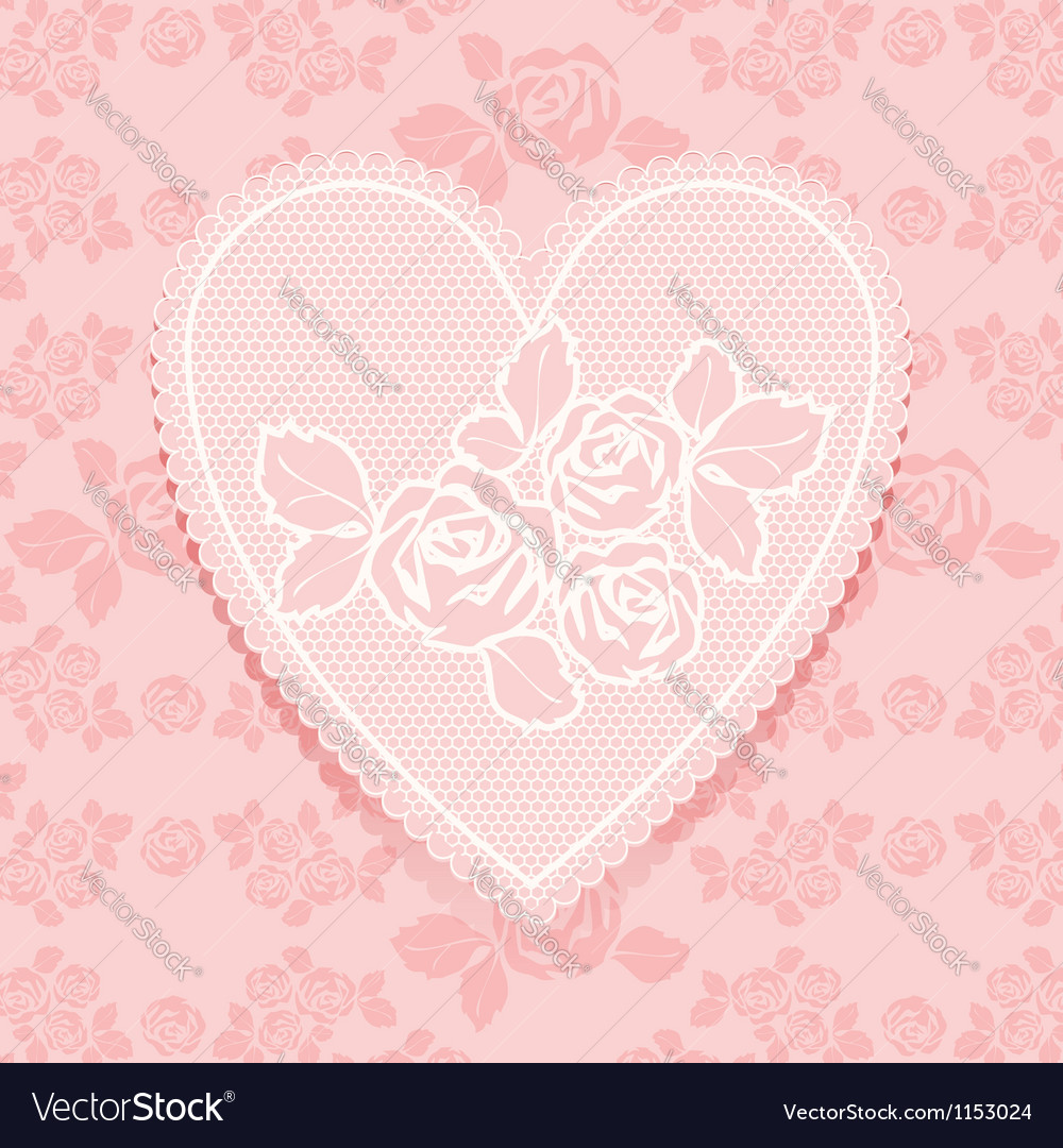 Lace pink in heart shape vector | Price: 1 Credit (USD $1)