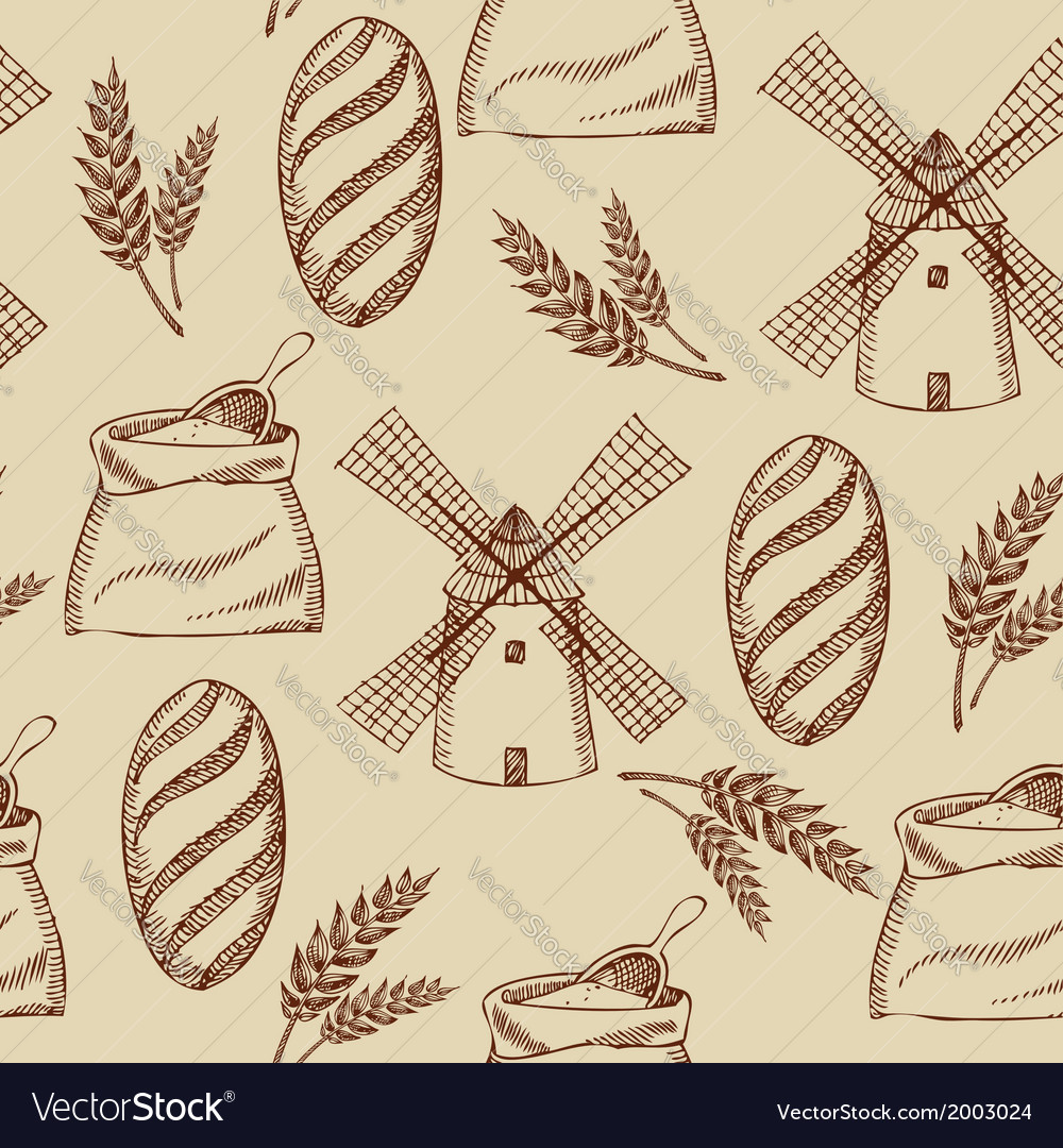 Seamless bakery pattern retro design vector | Price: 1 Credit (USD $1)