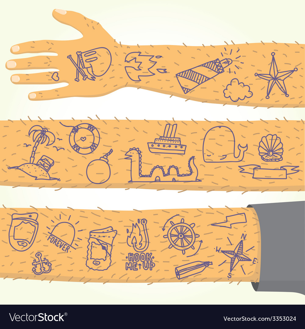 Tattoo on long hand isolated vector | Price: 1 Credit (USD $1)