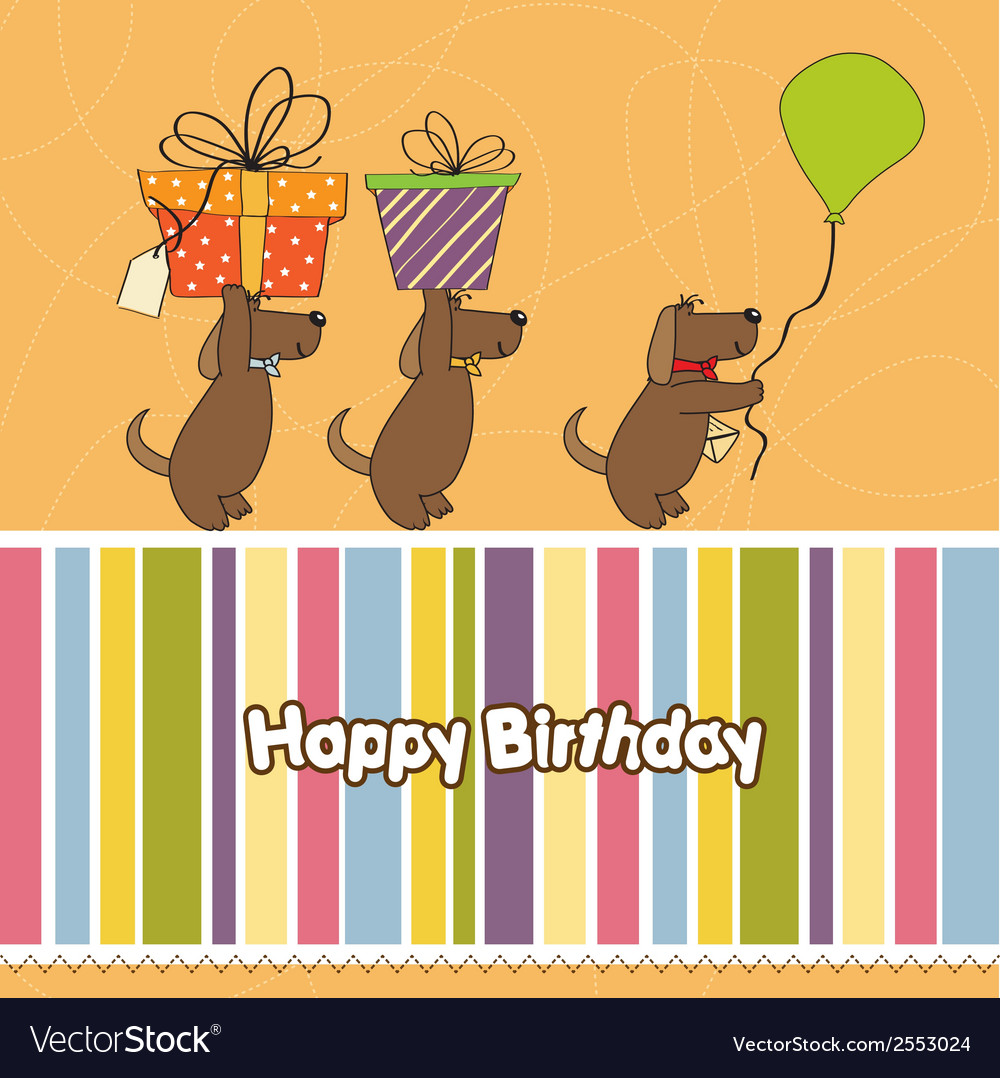 Three dogs that offer a big gift birthday greeting vector | Price: 1 Credit (USD $1)