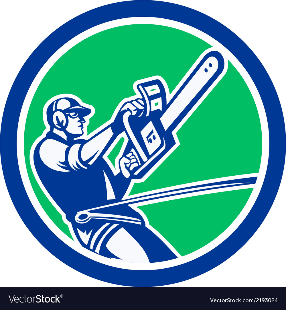 Tree surgeon trimming chainsaw circle retro vector | Price: 1 Credit (USD $1)