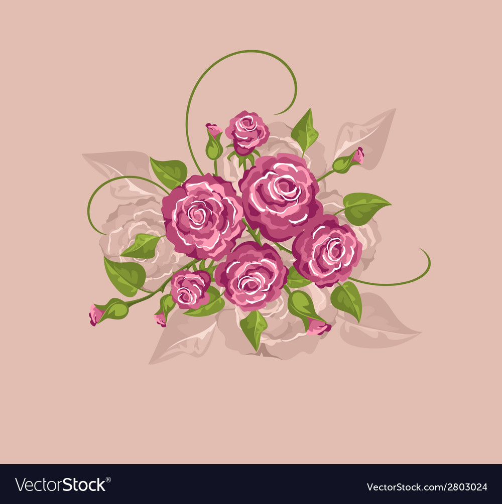 Vintage flowers on a pink background vector | Price: 1 Credit (USD $1)