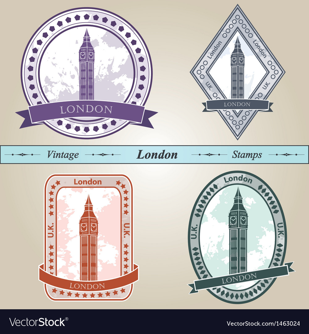 Vintage stamp london vector | Price: 1 Credit (USD $1)