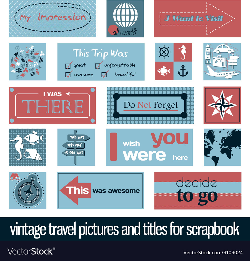 Vintage travel pictures and titles vector | Price: 1 Credit (USD $1)