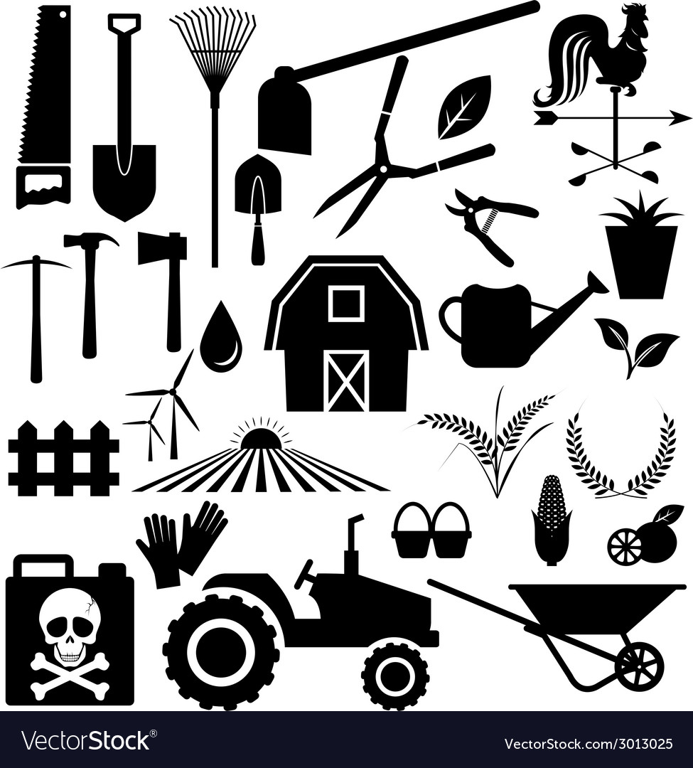 Agricultural equipment and farm set vector | Price: 1 Credit (USD $1)