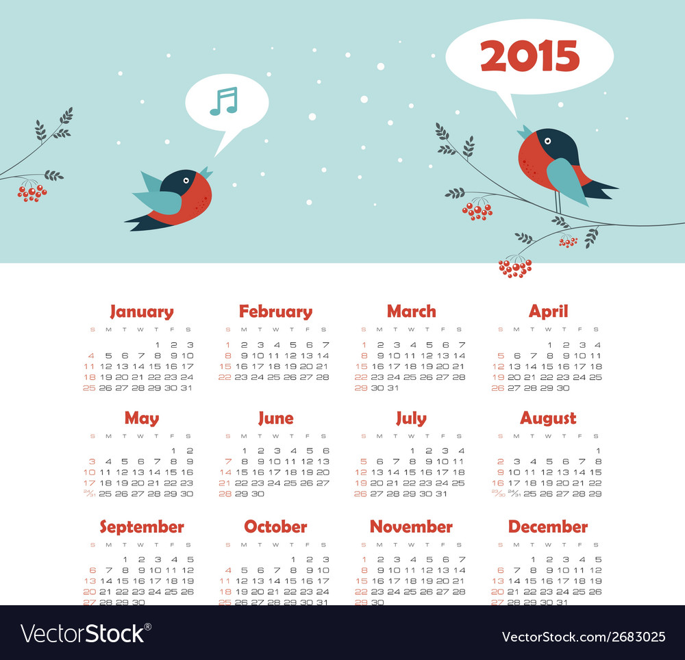 Calendar 2015 year with singing birds vector | Price: 1 Credit (USD $1)