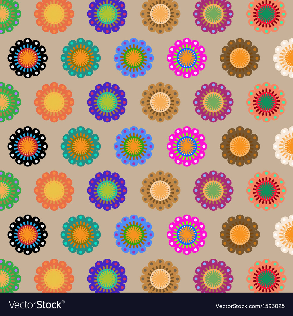 Create seamless folk flower pattern vector | Price: 1 Credit (USD $1)