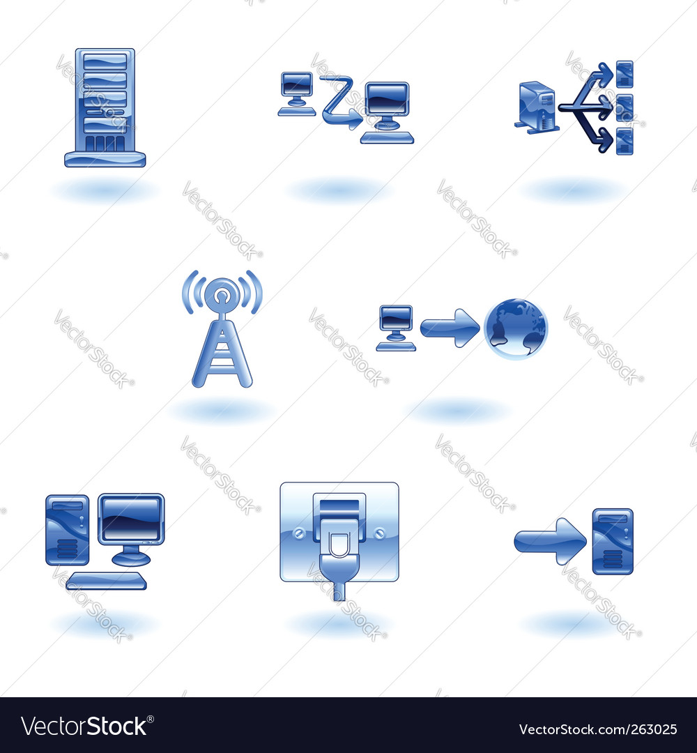 Glossy computer network icon set vector | Price: 1 Credit (USD $1)