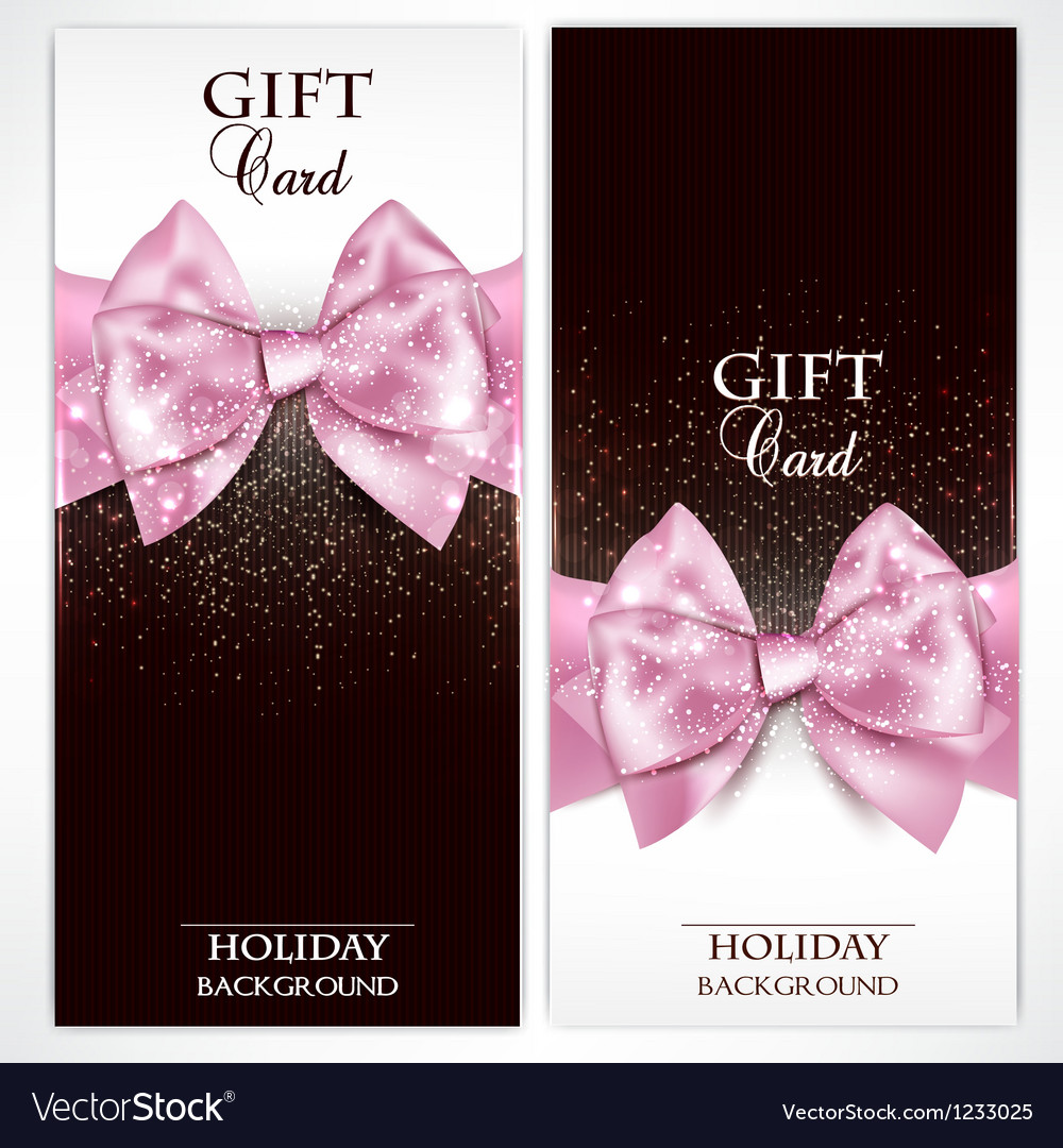 Gorgeous gift cards with pink bows and copy space vector | Price: 1 Credit (USD $1)