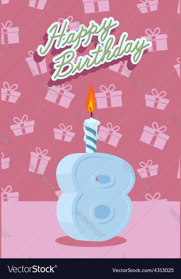 Happy birthday age 8 announcement and celebration vector | Price: 1 Credit (USD $1)