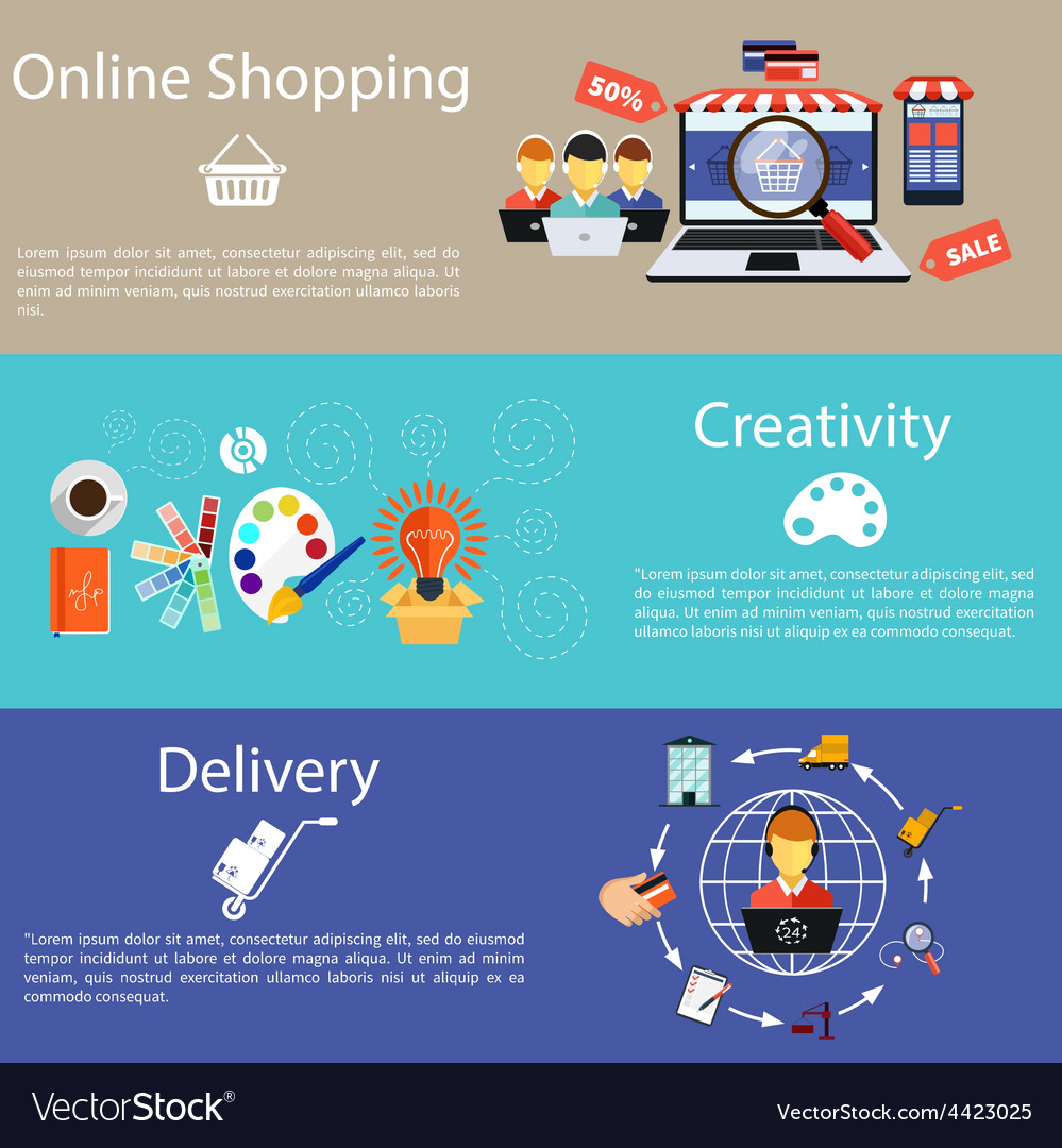 Internet shopping creativity and delivery vector | Price: 1 Credit (USD $1)
