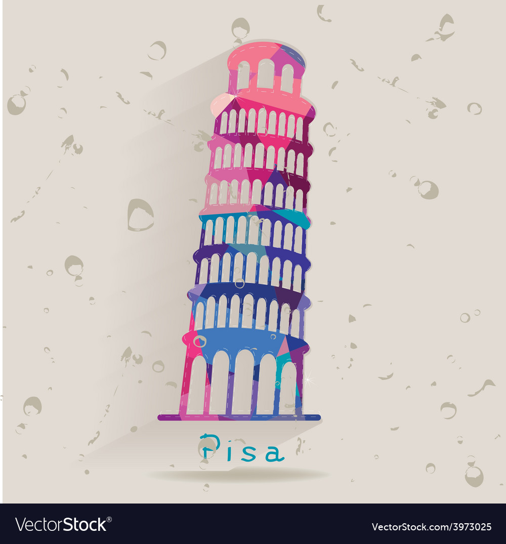 Leaning tower of pisa made of triangles vector | Price: 1 Credit (USD $1)