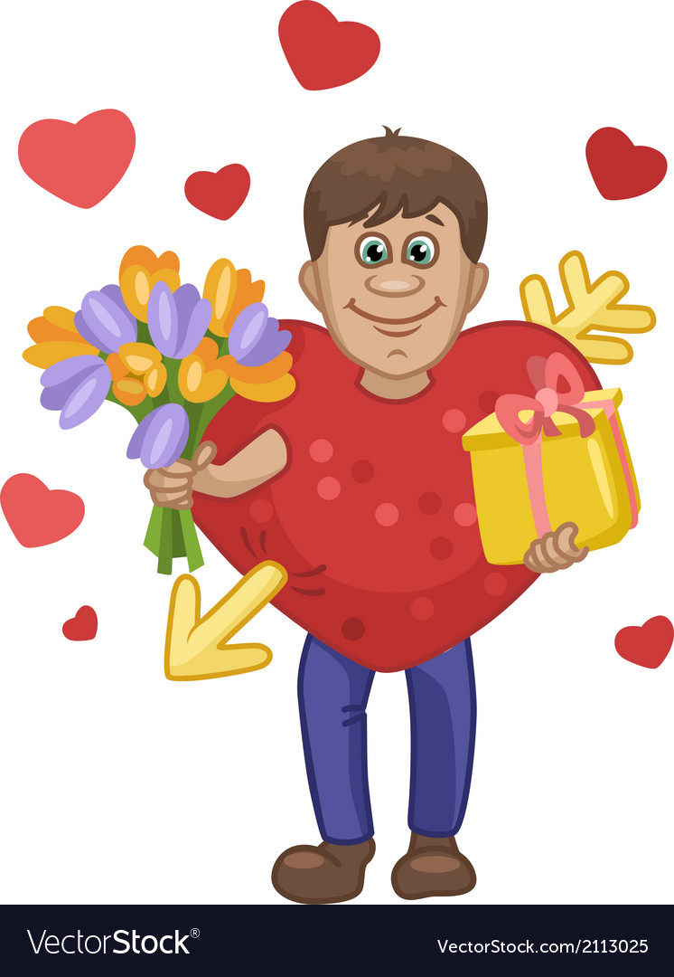 Man in a heart suit with flowers and gift in hands vector | Price: 1 Credit (USD $1)