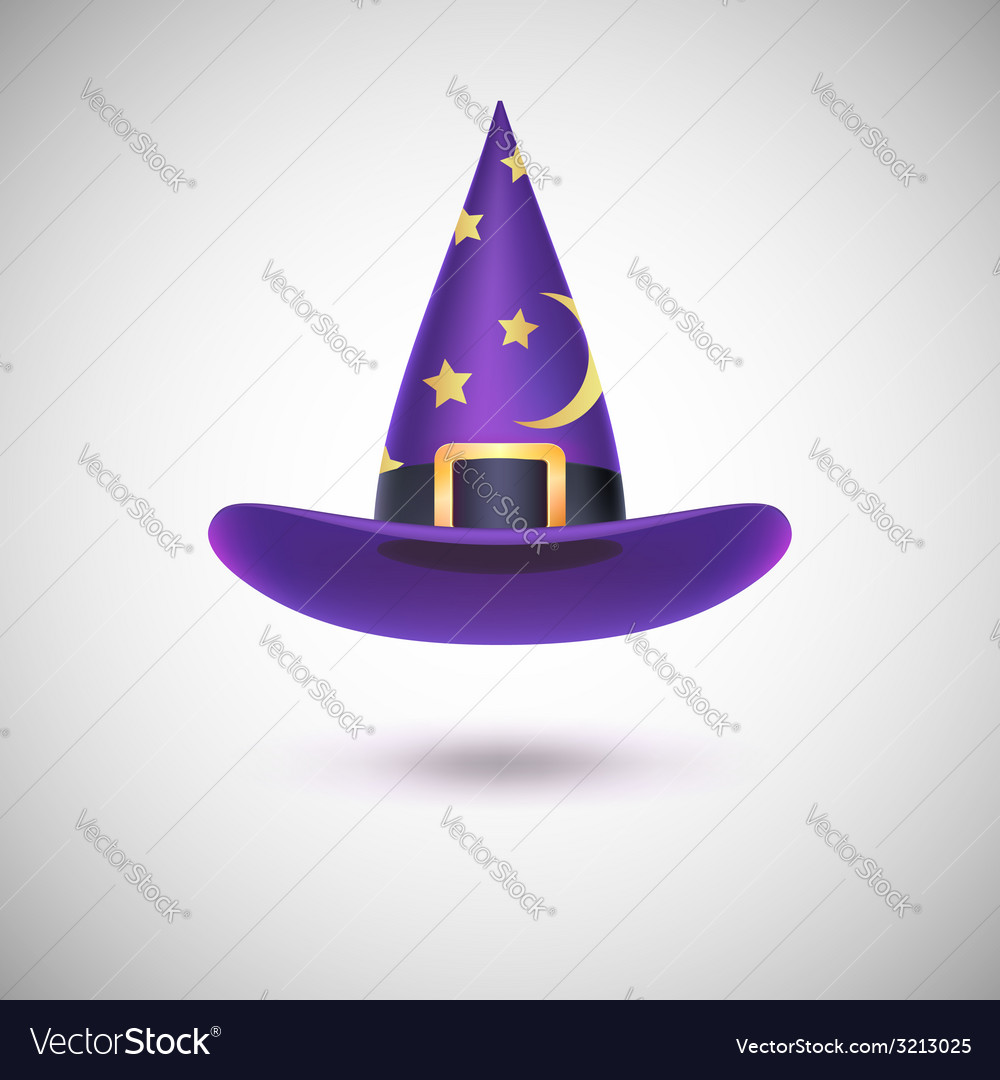 Purple witch hat for halloween vector | Price: 1 Credit (USD $1)