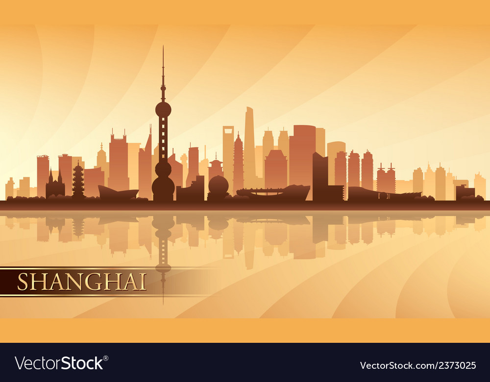 Shanghai city skyline silhouette background vector | Price: 1 Credit (USD $1)