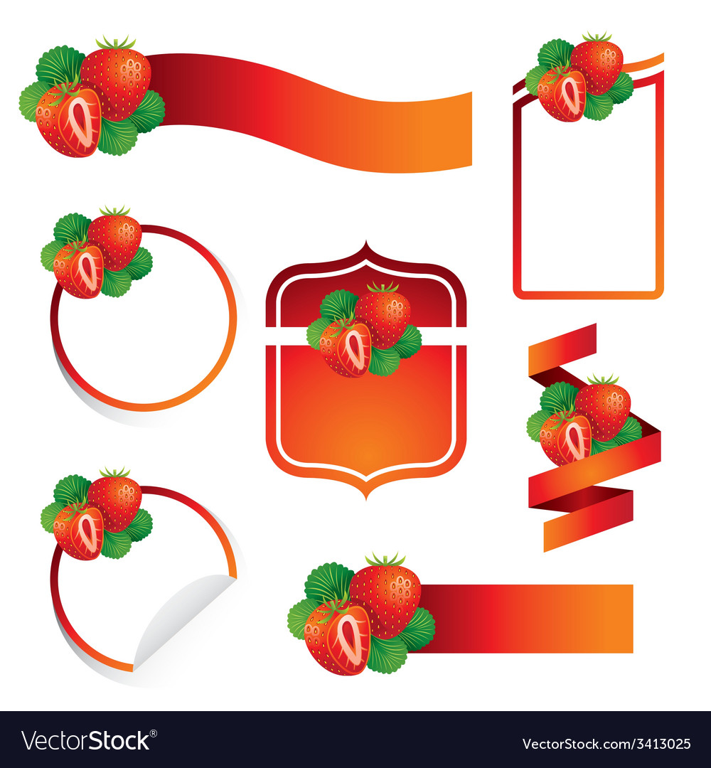 Strawberry label set vector | Price: 1 Credit (USD $1)