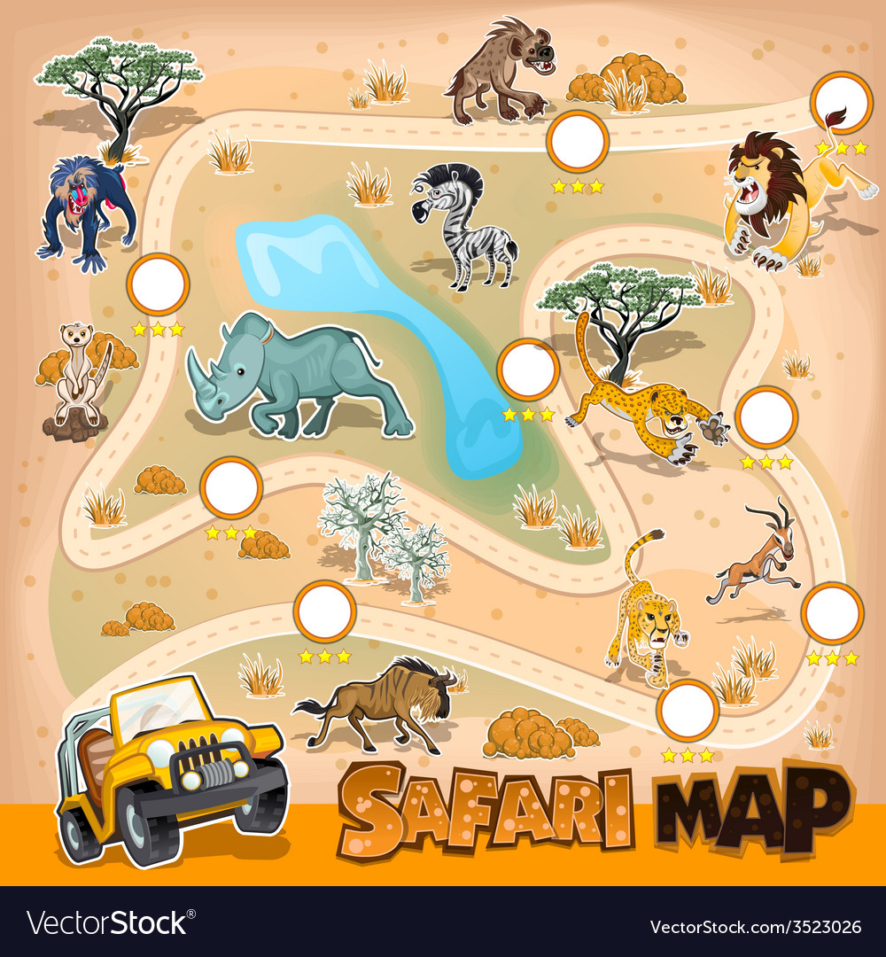 Africa safari map wildlife vector | Price: 3 Credit (USD $3)