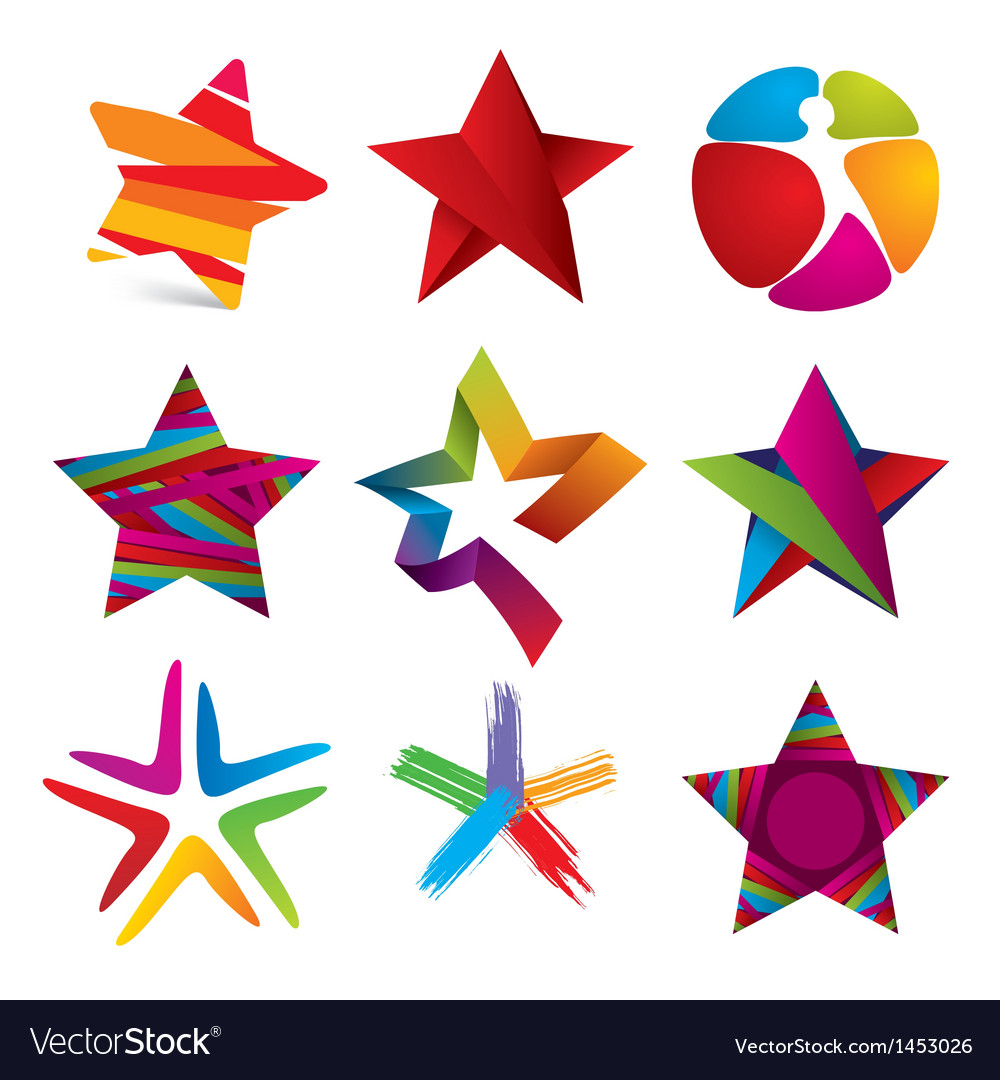 Collection of colorful stars signs vector | Price: 1 Credit (USD $1)