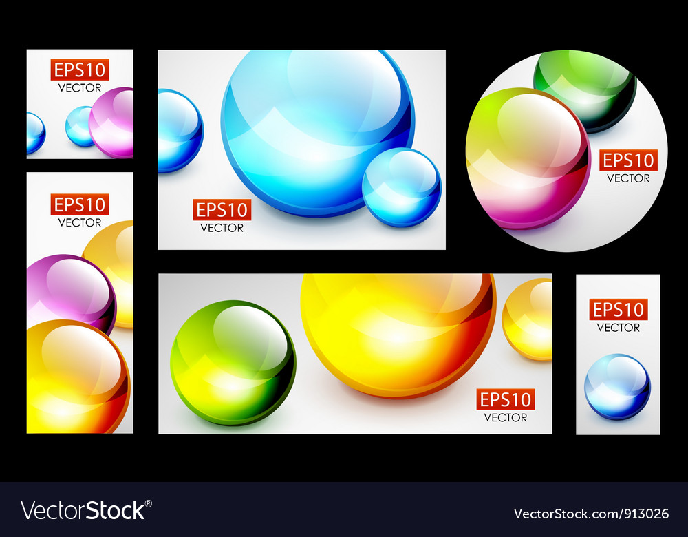 Colorful 3d sphere banners vector | Price: 1 Credit (USD $1)