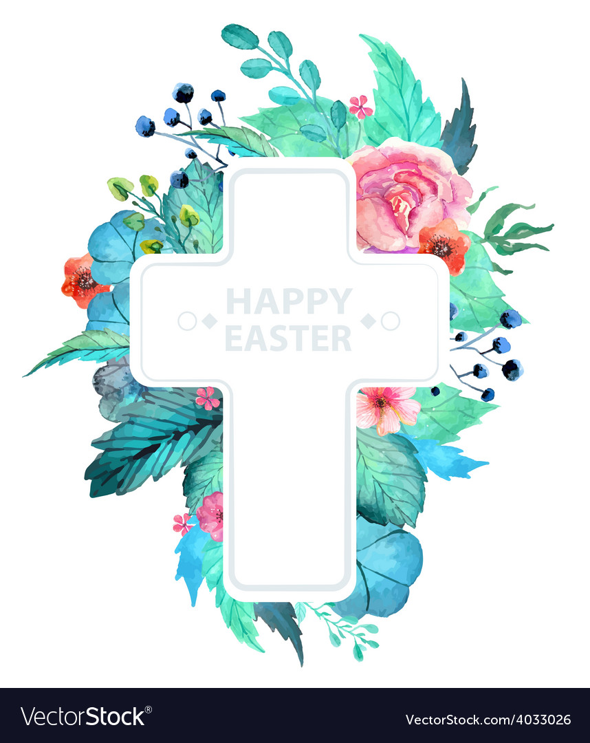 Easter watercolor natural with cross sticker vector | Price: 1 Credit (USD $1)