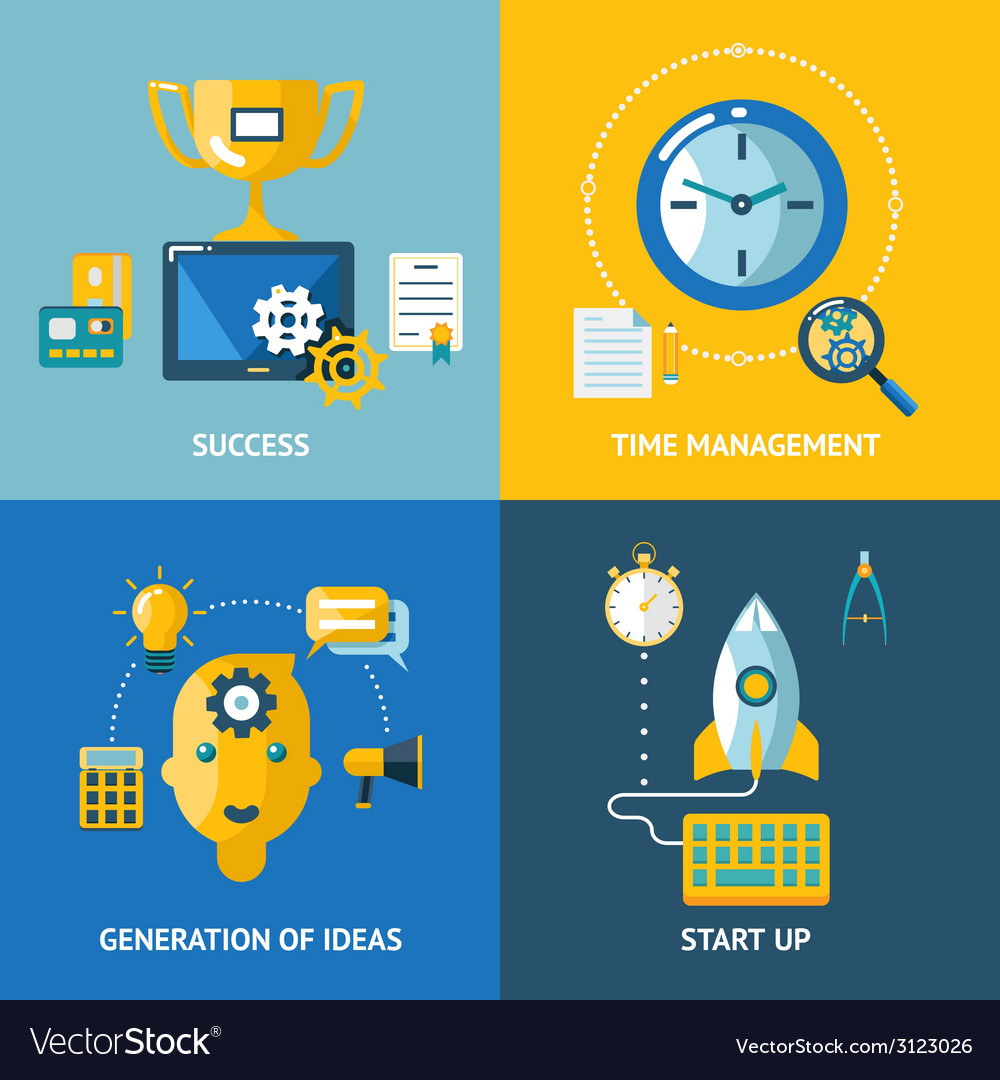 Generation of ideas start up time management vector | Price: 1 Credit (USD $1)