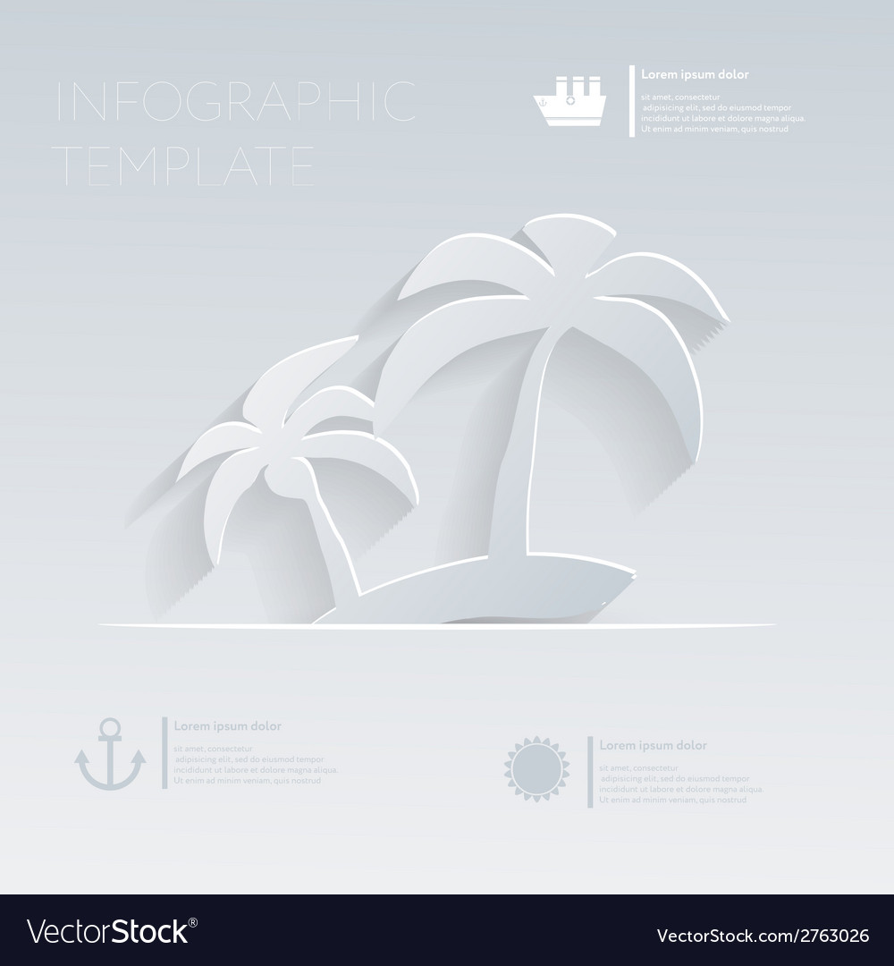 Island with palm trees theme holidays template vector | Price: 1 Credit (USD $1)
