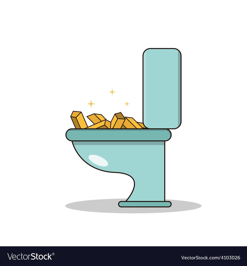 Isolated cartoon treasure gold on toilet vector | Price: 1 Credit (USD $1)