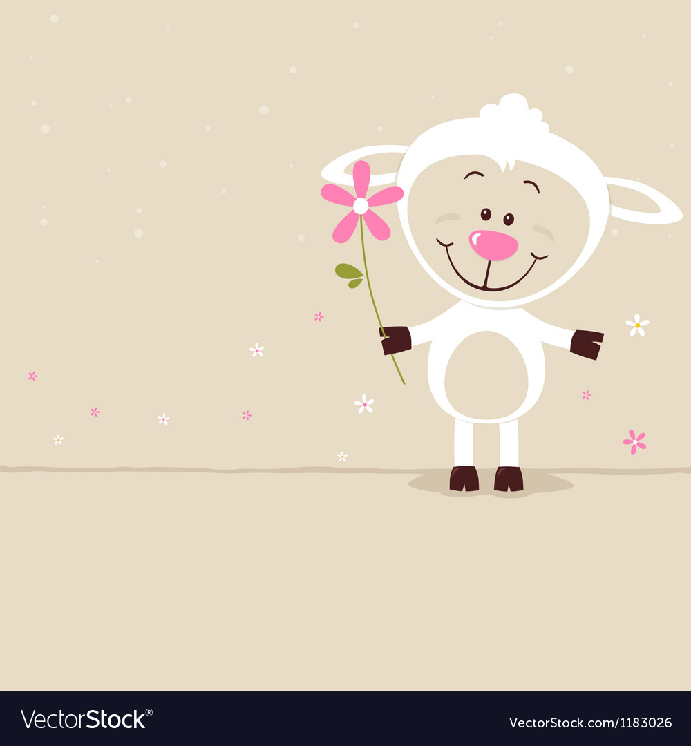 Lovely sheep with flower vector | Price: 1 Credit (USD $1)