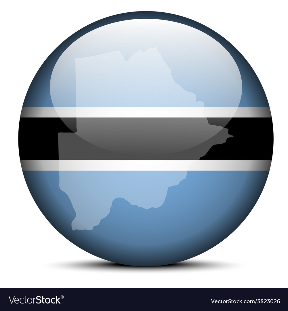Map on flag button of republic of botswana vector | Price: 1 Credit (USD $1)