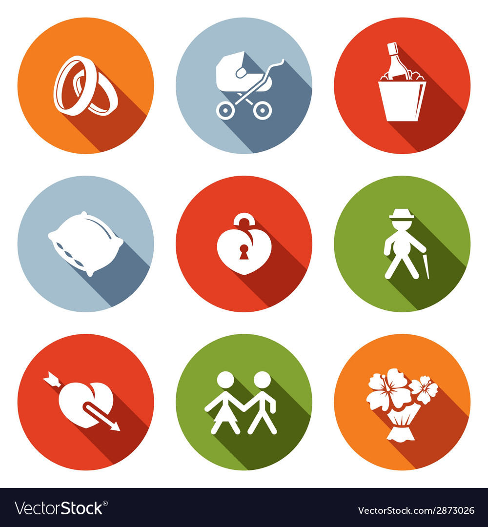 Peoples lives flat icons set vector | Price: 1 Credit (USD $1)