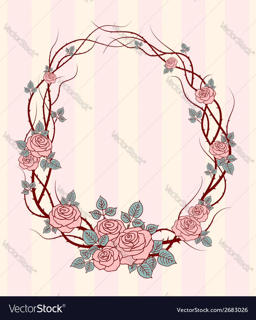 Roses frame round vector | Price: 1 Credit (USD $1)