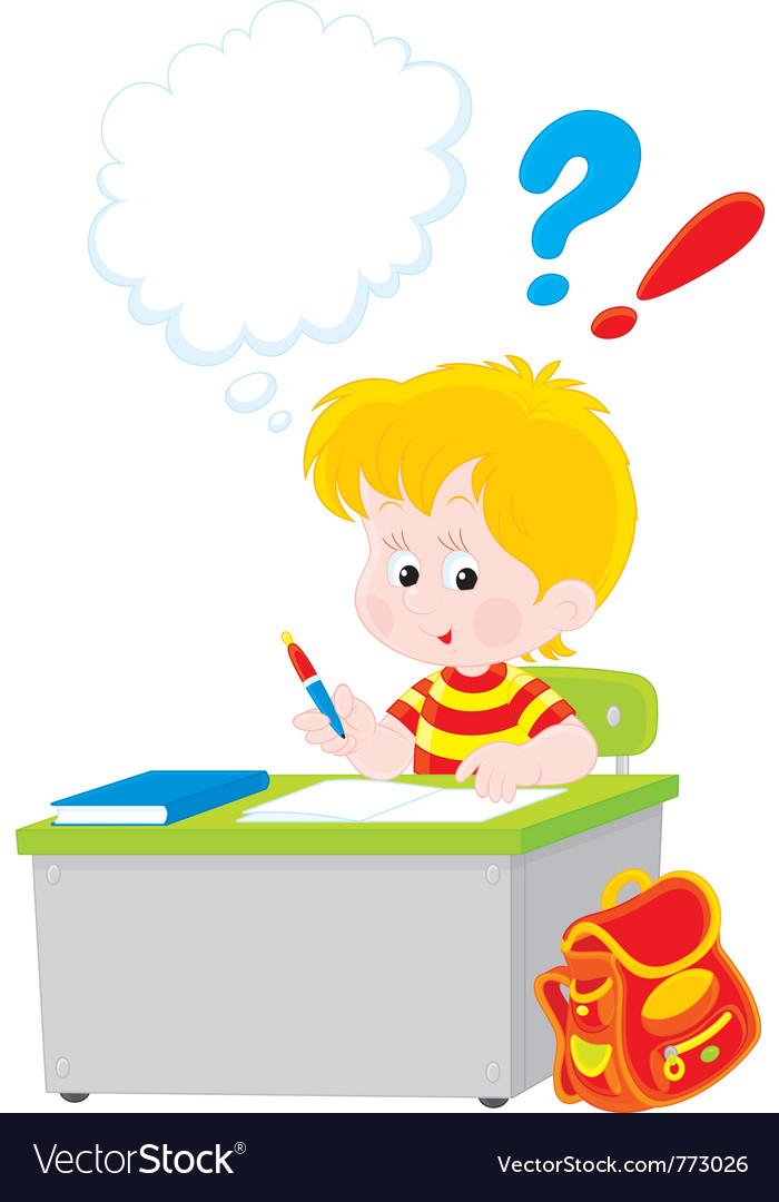 Schoolboy writing a test in school vector | Price: 3 Credit (USD $3)