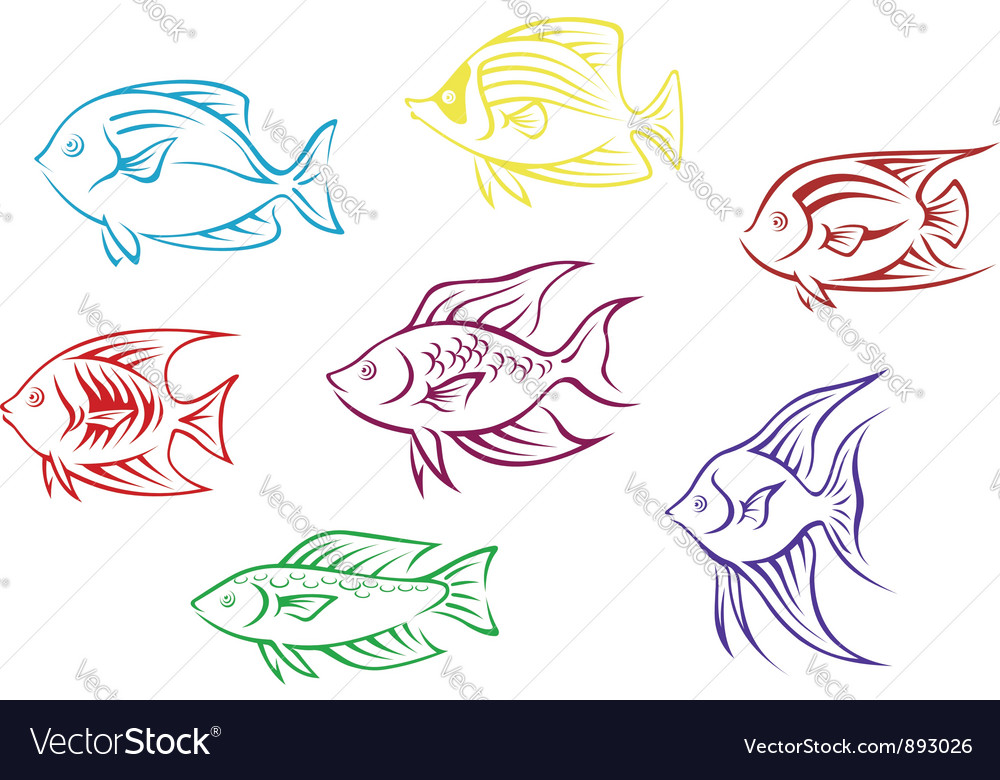 Set of seven aquarium fish silhouettes vector | Price: 1 Credit (USD $1)