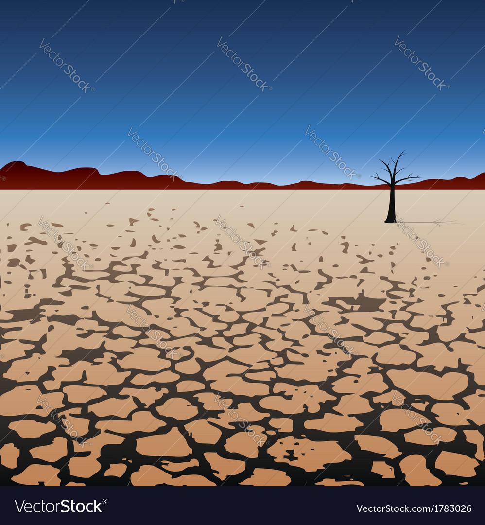 Tree in dry desert vector | Price: 1 Credit (USD $1)