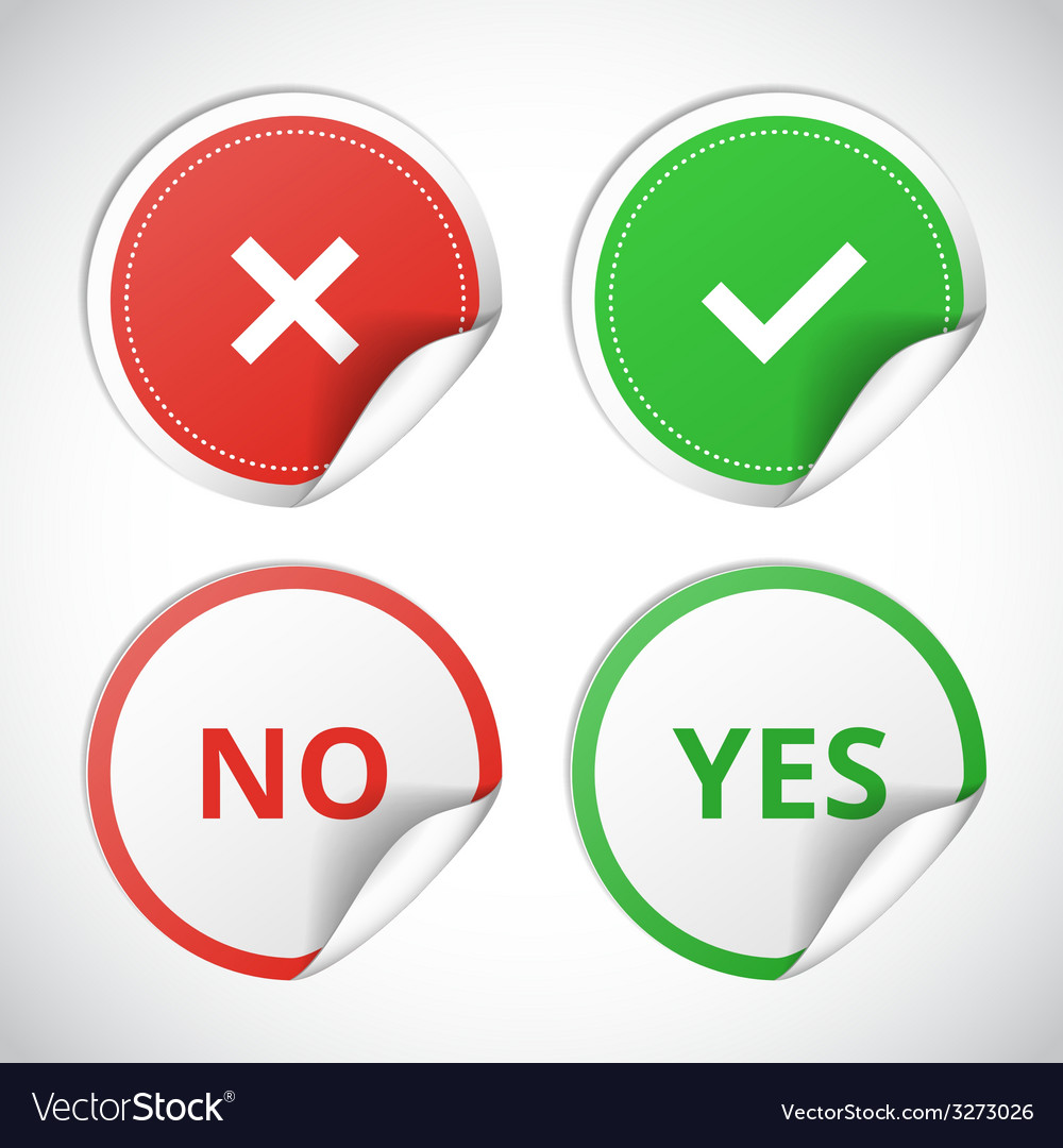 Yes and no stickers vector | Price: 1 Credit (USD $1)