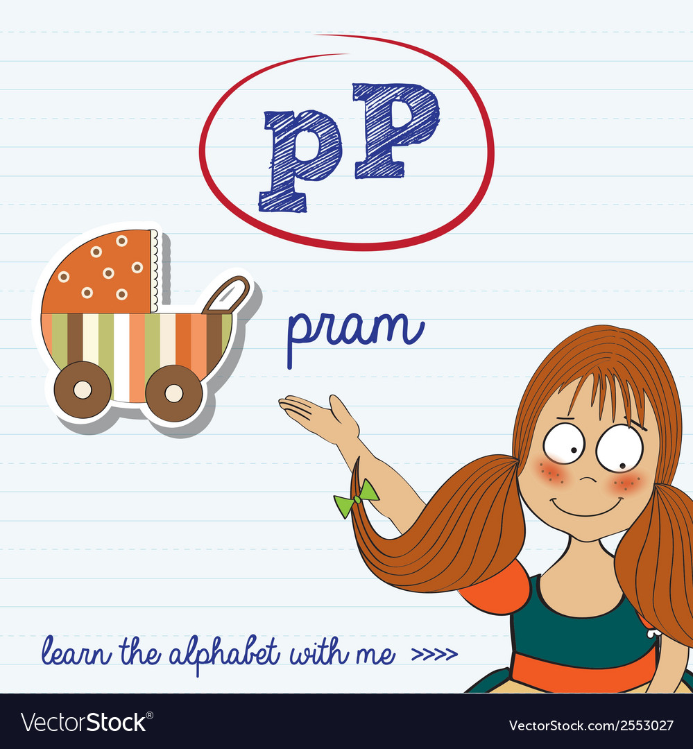 Alphabet worksheet of the letter p vector | Price: 1 Credit (USD $1)