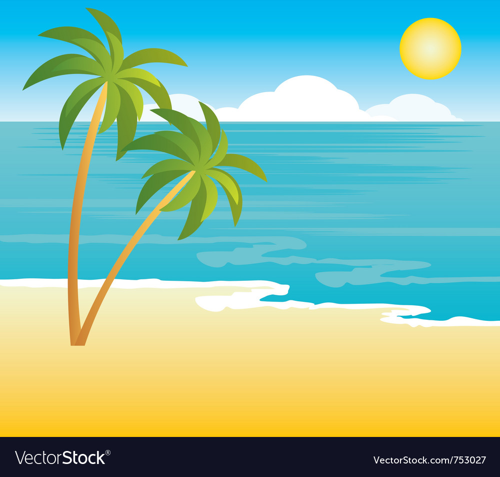 Beach with palm trees vector | Price: 1 Credit (USD $1)